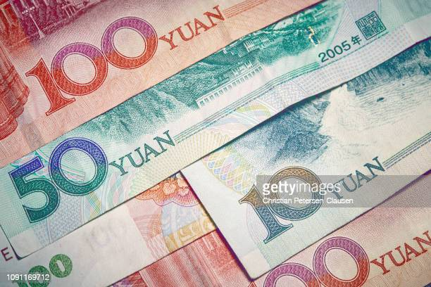 chinese paper money - chinese currency stock pictures, royalty-free photos & images