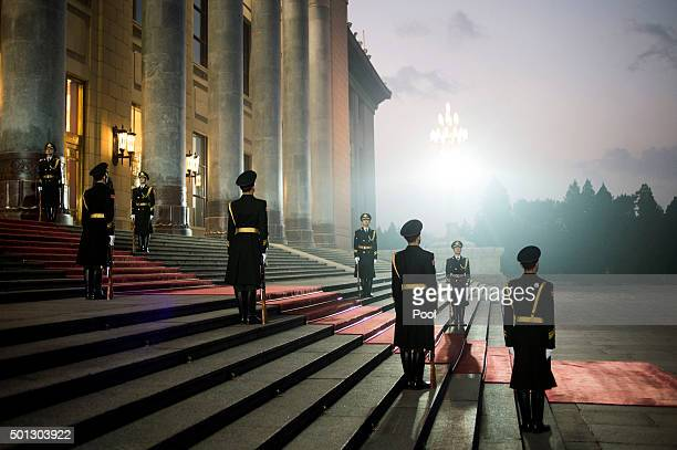 Chinese Paramilitary guards stand guard on the stairs after Sheikh Mohammed bin Zayed alNahyan Crown Prince of Abu Dhabi and UAE's deputy...