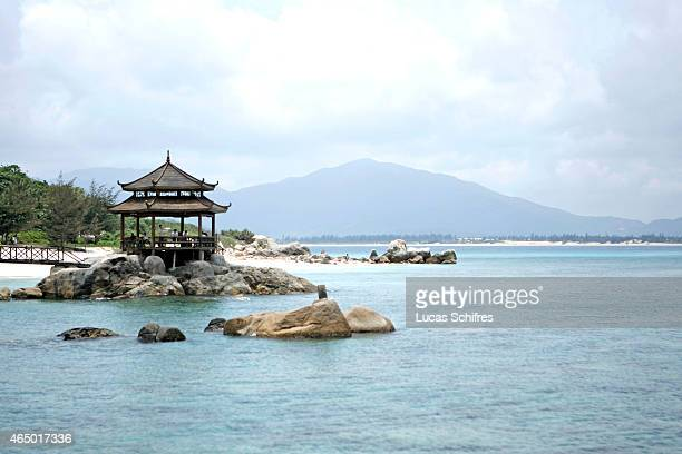 A Chinese pavilion overlooks the sea at Wuzhizhou island on May 2 2008 near Sanya Hainan province China Sanya is the southernmost city of Hainan...