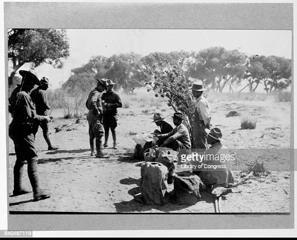 Chinese peddlers sell goods to American soldiers at their camp in the desert at Casas Grandes The soldiers entered Mexico during the Punitive...