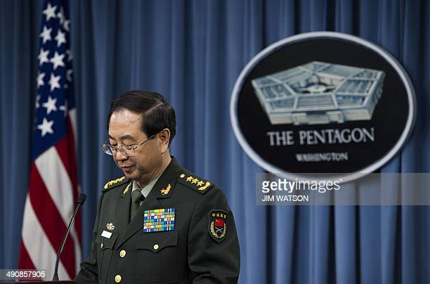 Chinese People's Liberation Army Chief of the General Staff General Fang Fenghui speaks during a joint press conference with the Chairman of the...
