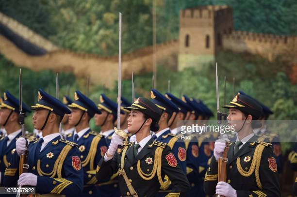 Chinese People's Liberation Army honor guard are seen during the welcoming ceremony Ghana President Nana AkufoAddo at the Great Hall of the People on...