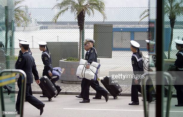 Chinese People's Liberation Army sailors prepare to leave Hong Kong 25 November 2007 PLA troops usually spend a year in Hong Kong at a time The day...