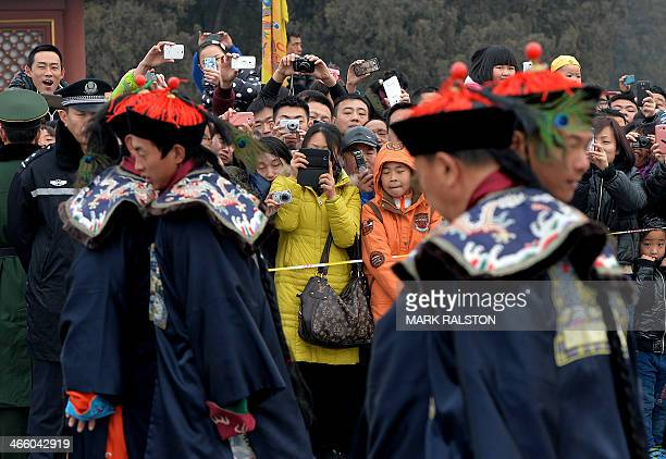 Chinese performers during a traditional Qing Dynasty ceremony in which emperors prayed for good fortune during Lunar New Year festivities at the...