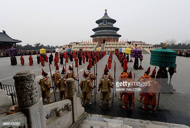 Chinese performers during a traditional Qing Dynasty ceremony in which emperors prayed for good fortune, during Lunar New Year festivities at the...