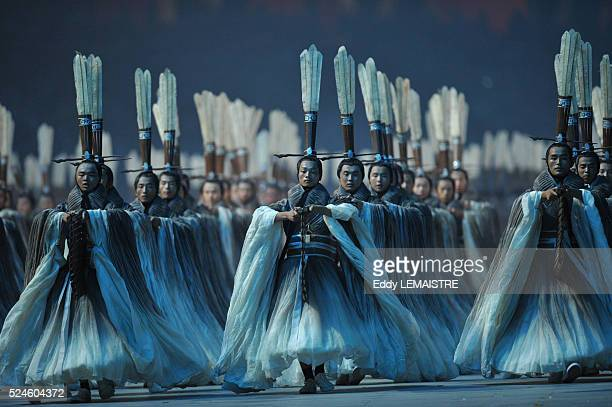 Chinese performers during the Opening Ceremony of the Beijing 2008 Olympic Games at the National Stadium known as Bird's Nest Beijing China