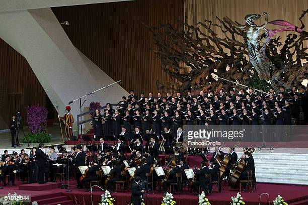 Chinese Philharmonic Orchestra performs for Pope Benedict XVI at the Paul VI Hall on May 7 2008 in Vatican City Vatican Benedict XVI