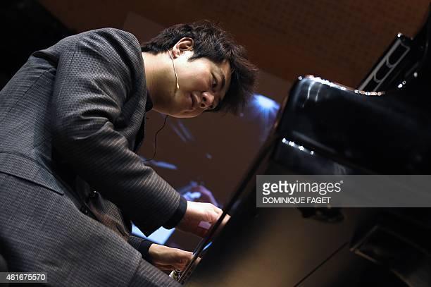Chinese pianist Lang Lang performs during open house at the 'Philharmonie de Paris' concert hall in the Parc de la Villette near Porte de Pantin in...