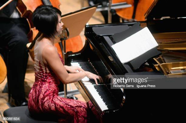 Chinese pianist Yuja Wang performs with the Rotterdam Philarmonic Orchestra conducted by Yannick Nezet Seguin in concert for Bologna Festival at...