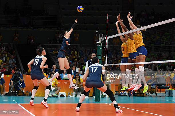 Chinese players and Brazilian players compete during the Women's Quarterfinal match between China and Brazil on day 11 of the Rio 2106 Olympic Games...