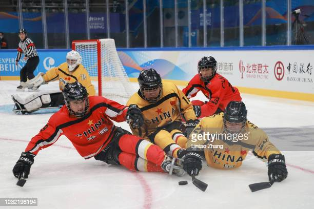 Chinese players compete during the Para Ice Hockey test event for the Beijing 2022 Winter Olympics at National Indoor Stadium on April 9, 2021 in...