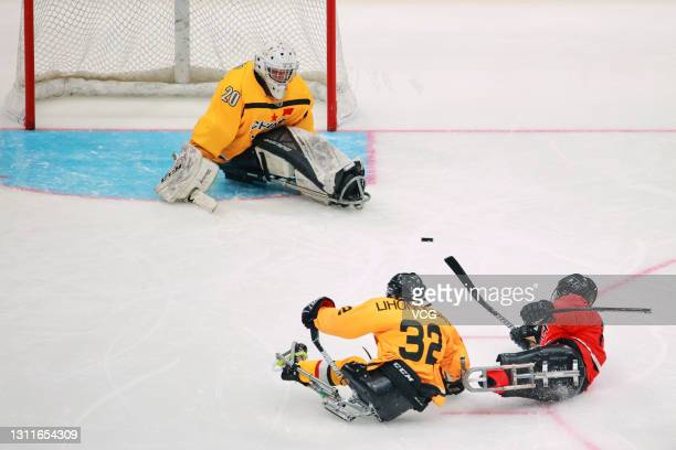 Chinese players compete in the Para Ice Hockey test event during the 10-day test program for the Olympic and Paralympic Winter Games Beijing 2022 at...
