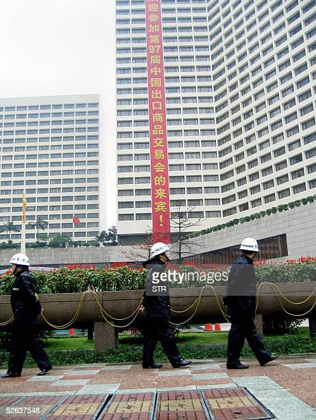 Chinese police guard outside Garden Hotel where Japanese Consulate holds office in Guangzhou 16 April 2005 There was no immediate sign of expected...