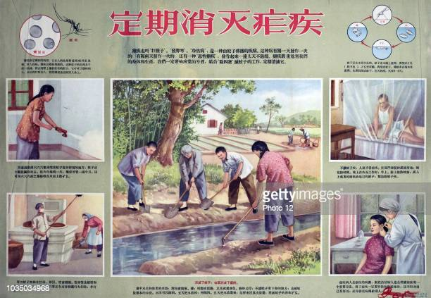 Chinese poster shows 5 seperate images each one raises awareness of malaria The centre image shows a group of people working on the canal the image...