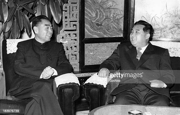 Chinese Premier Chou Enlai meeting with North Korean Premier Kim Il Sung during the visit of the Korean Government Delegation on November 22 1958
