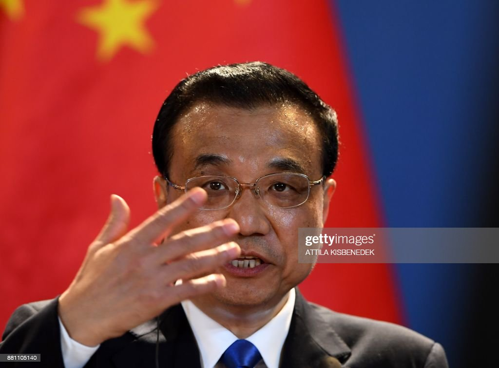 Chinese Premier Li Keqiang addresses a press conference with the Hungarian Prime Minister in the Hungarian parliament building in Budapest on November 28, 2017 after their official talks. Chinese Premier Li Keqiang arrived on November 26 for the China-CEEC (16 Central and Eastern European Countries) summit and for his two-day official visit starting today. KISBENEDEK
