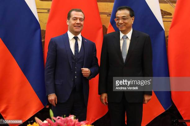 Chinese Premier Li Keqiang and Russian Prime Minister Dmitry Medvedev attend the signing ceremony at The Great Hall Of The People on November 7 2018...