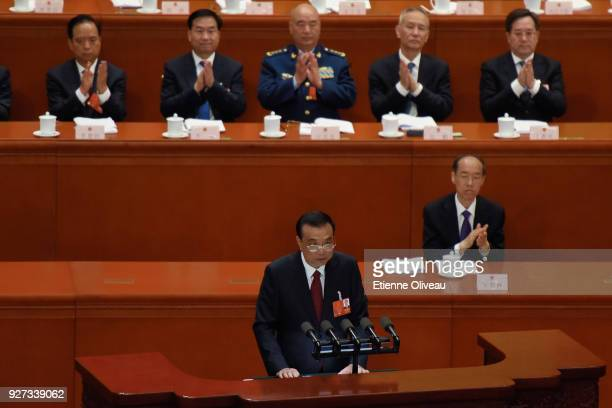 Chinese Premier Li Keqiang delivers a speech during the opening of the 13th National People's Congress at The Great Hall of People on March 5 2018 in...
