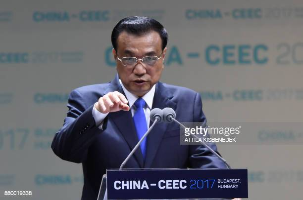 Chinese Premier Li Keqiang gives a speech during an economic forum attended by 15 central and eastern European leaders on November 27 2017 in...
