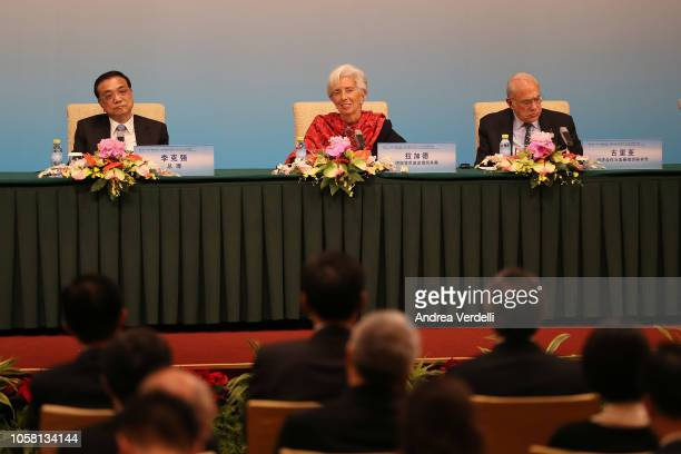 Chinese Premier Li Keqiang Managing Director of the International Monetary Fund Christine Lagarde and Secretary General of the Organization for...