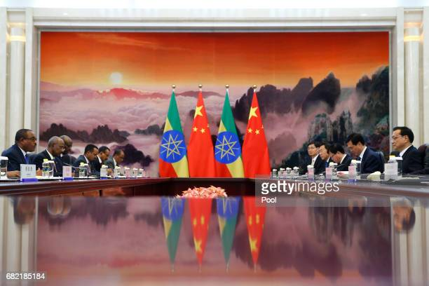 Chinese Premier Li Keqiang meets Ethiopia's Prime Minister Hailemariam Desalegn at the Great Hall of the People on May 12 2017 in Beijing China