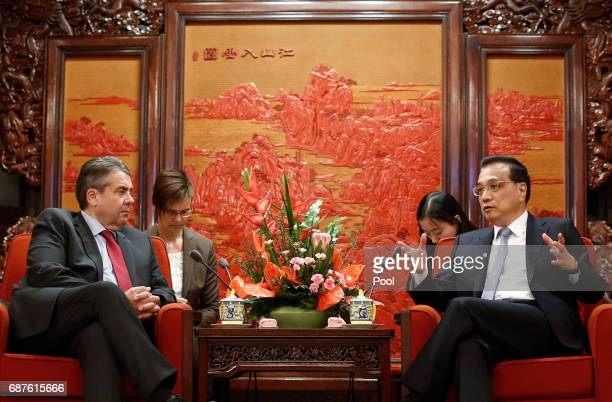Chinese Premier Li Keqiang meets German Foreign Minister Sigmar Gabriel at the Zhongnanhai Leadership Compound on May 24 2017 in Beijing China...