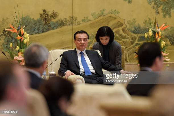 Chinese Premier Li Keqiang meets Global 500 enterprises' heads at China Development Forum at Diaoyutai State Guesthouse on March 20 2017 in Beijing...