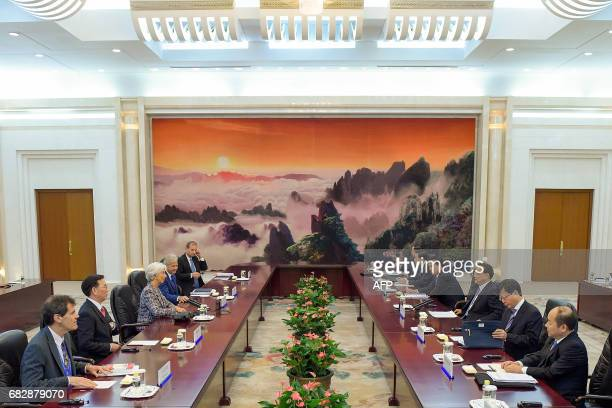 Chinese Premier Li Keqiang meets Managing Director of the International Monetary Fund Christine Lagarde at the Great Hall of the People in Beijing on...