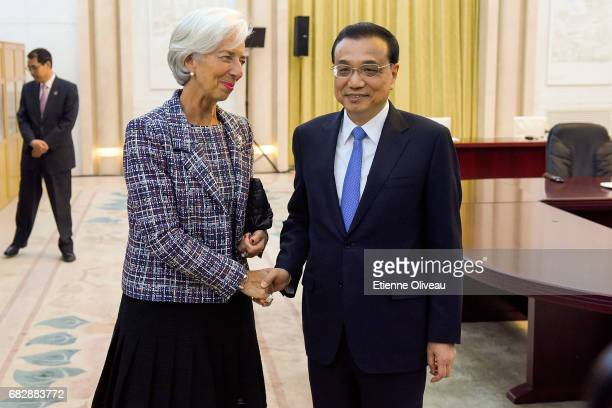 Chinese Premier Li Keqiang meets Managing Director of the International Monetary Fund Christine Lagarde at the Great Hall of the People on May 14...