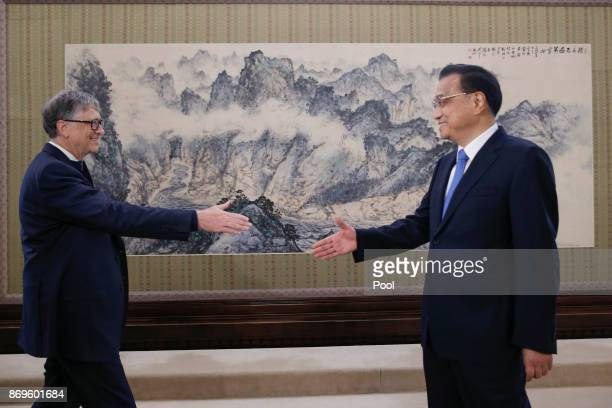 Chinese Premier Li Keqiang meets Microsoft cofounder and philanthropist Bill Gates at the Zhongnanhai government compound in Beijing China November 3...