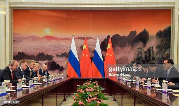 Chinese Premier Li Keqiang meets Russian President Vladimir Putin at the Great Hall of the People on May 14, 2017 in Beijing, China.