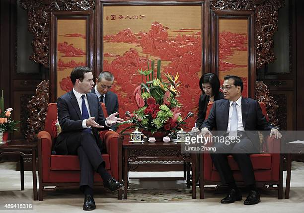 Chinese Premier Li Keqiang meets with British Chancellor of the Exchequer George Osborne at the Zhongnanhai Leadership Compound on September 21 2015...