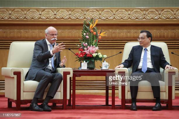 Chinese Premier Li Keqiang meets with Daimler CEO Dieter Zetsche at The Great Hall Of The People on March 25 2019 in Beijing China