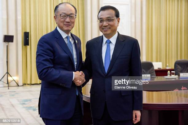 Chinese Premier Li Keqiang meets World Bank Group President Jim Yong Kim at the Great Hall of the People on May 14 2017 in Beijing China