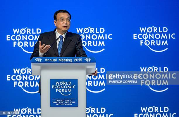 Chinese Premier Li Keqiang speaks during a session of the World Economic Forum annual meeting on January 21 2015 in Davos China's economy is not...