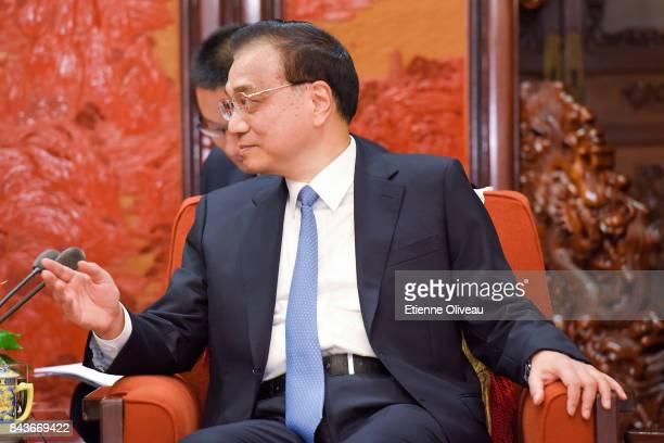 Chinese Premier Li Keqiang speaks during his meeting with Deputy Prime Minister of Nepal Krishna Bahadur Mahara at Zhongnanhai Leadership Compound on...