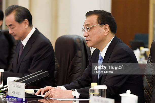 Chinese Premier Li Keqiang speaks during his meeting with Peruvian President Pedro Pablo Kuczynski at the Great Hall of the People on September 14...