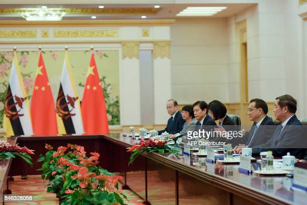Chinese Premier Li Keqiang speaks during his meeting with Sultan of Brunei Hassanal Bolkiah at the Great Hall of the People in Beijing on September...