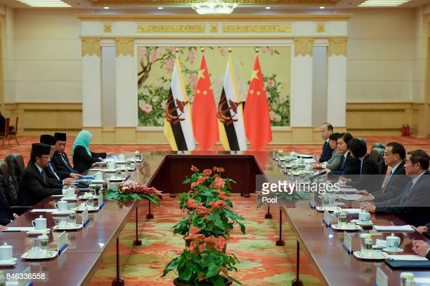 Chinese Premier Li Keqiang speaks during his meeting with the Sultan of Brunei Hassanal Bolkiah at The Great Hall Of The People on September 13, 2017...