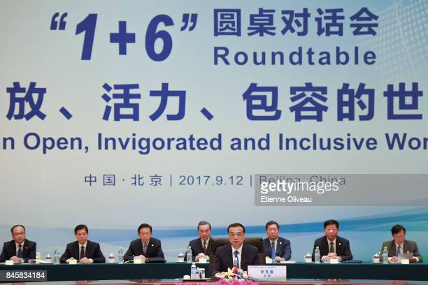 Chinese Premier Li Keqiang , speaks during The 1+6 Round Table Dialogue meeting at Diaoyutai State Guesthouse on September 12, 2017 in Beijing, China.