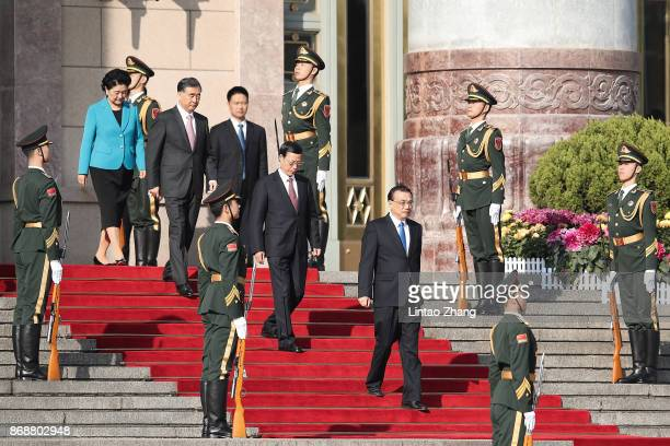Chinese Premier Li Keqiang with Chinese Vice Premier Liu Yandong Wang Yang Zhang Gaoli attend a welcoming ceremony for Russia's Prime Minister Dmitry...