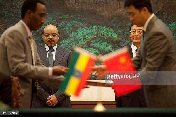 Chinese Premier Wen Jiabao attends a signing ceremony with Ethiopian Prime Minister Meles Zenawi at the Great Hall of the People meet on August 15...