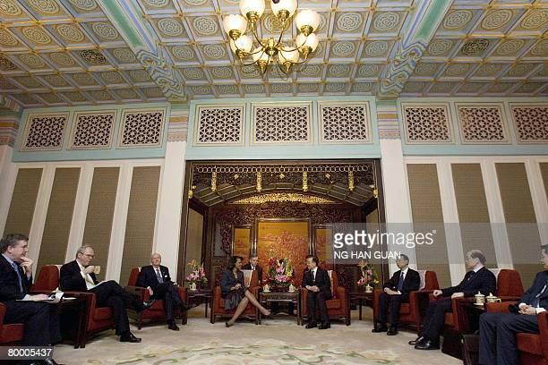 Chinese Premier Wen Jiabao hold talks with US Secretary of State Condoleezza Rice at the Zhongnanhai Chinese leadership compound in Beijing on...