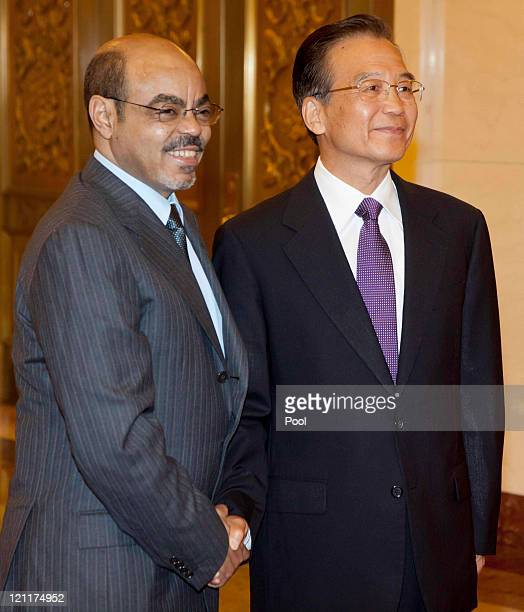 Chinese Premier Wen Jiabao meets with Ethiopian Prime Minister Meles Zenawi at the Great Hall of the People meet on August 15 2011 in Beijing China...