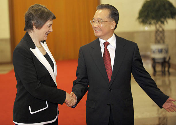 Chinese Premier Wen Jiabao R Shows The Pictures Getty Images