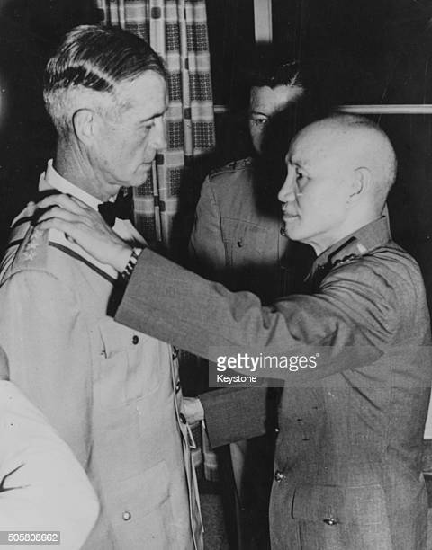 Chinese President Chiang G Kai-Shek talking to General Earle E Partridge, US Far East Commander, at the Presidential Mansion in Taipei, June 4th 1955.