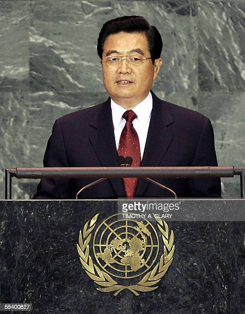 Chinese President Hu Jintao addresses the 2005 World Summit 14 September 2005 at the 60th session of the United Nations General Assembly in New York...