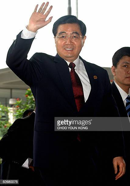 Chinese President Hu Jintao arrives at Jakarta Convention Center to attend the Asia Africa Summit 2005, in Jakarta 22 April 2005. Japan continued to...