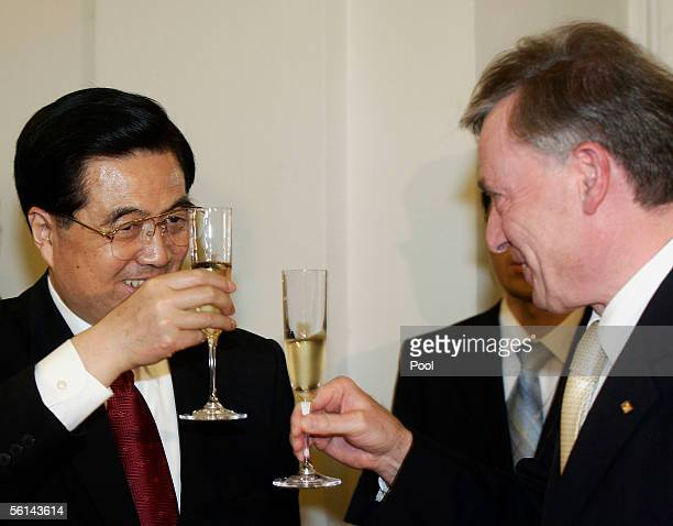 Chinese President Hu Jintao joins German President Horst Koehler in a toast during a reception at Charlottenburg Castle on November 11, 2005 in...