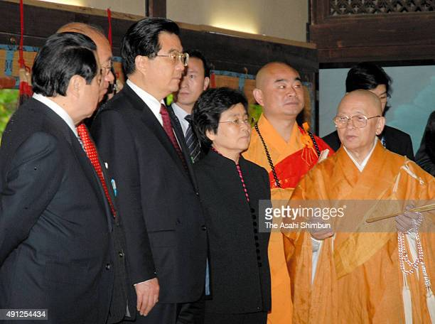 Chinese President Hu Jintao listens to explanation at Toshodaiji Temple on May 10 2008 in Nara Japan